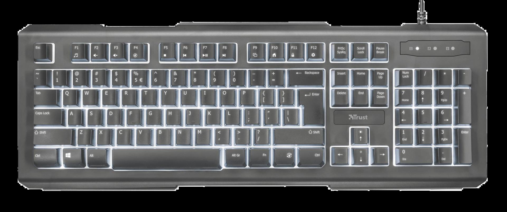 klávesnice TRUST Lito Backlit Multimedia