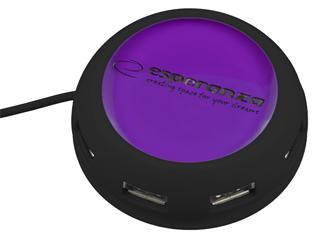 Esperanza EA135V YOYO Hub USB 2.0, 4 porty, fialový