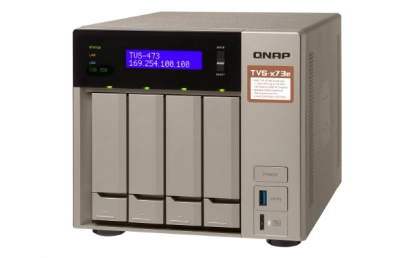 "QNAP TVS-473e-8G Turbo NAS server, AMD RX-421BD QC 2.1 GHz/4GB/RAID 0,1,5,6,10/4xGL/4x 2.5/3.5"" SATA II/III HDD/SSD"