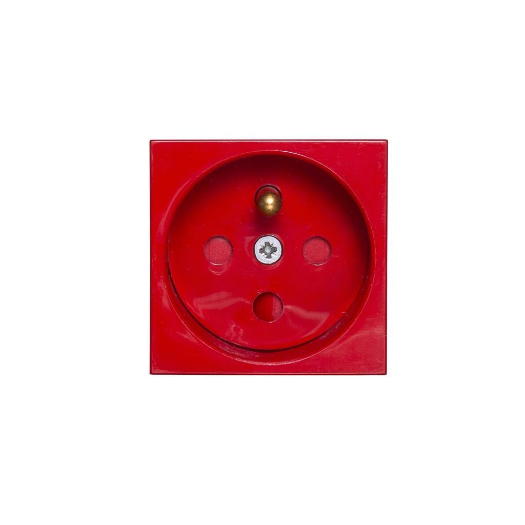 Netrack NBOX elektrická zásuvka 2M 1x2P + Z, s pojistkou, červená