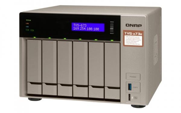 "QNAP TVS-673e-8G Turbo NAS server, AMD RX-421BD QC 2.1 GHz/8GB/RAID 0,1,5,6,10/4xGL/6x 2.5/3.5"" SATA II/III HDD/SSD"