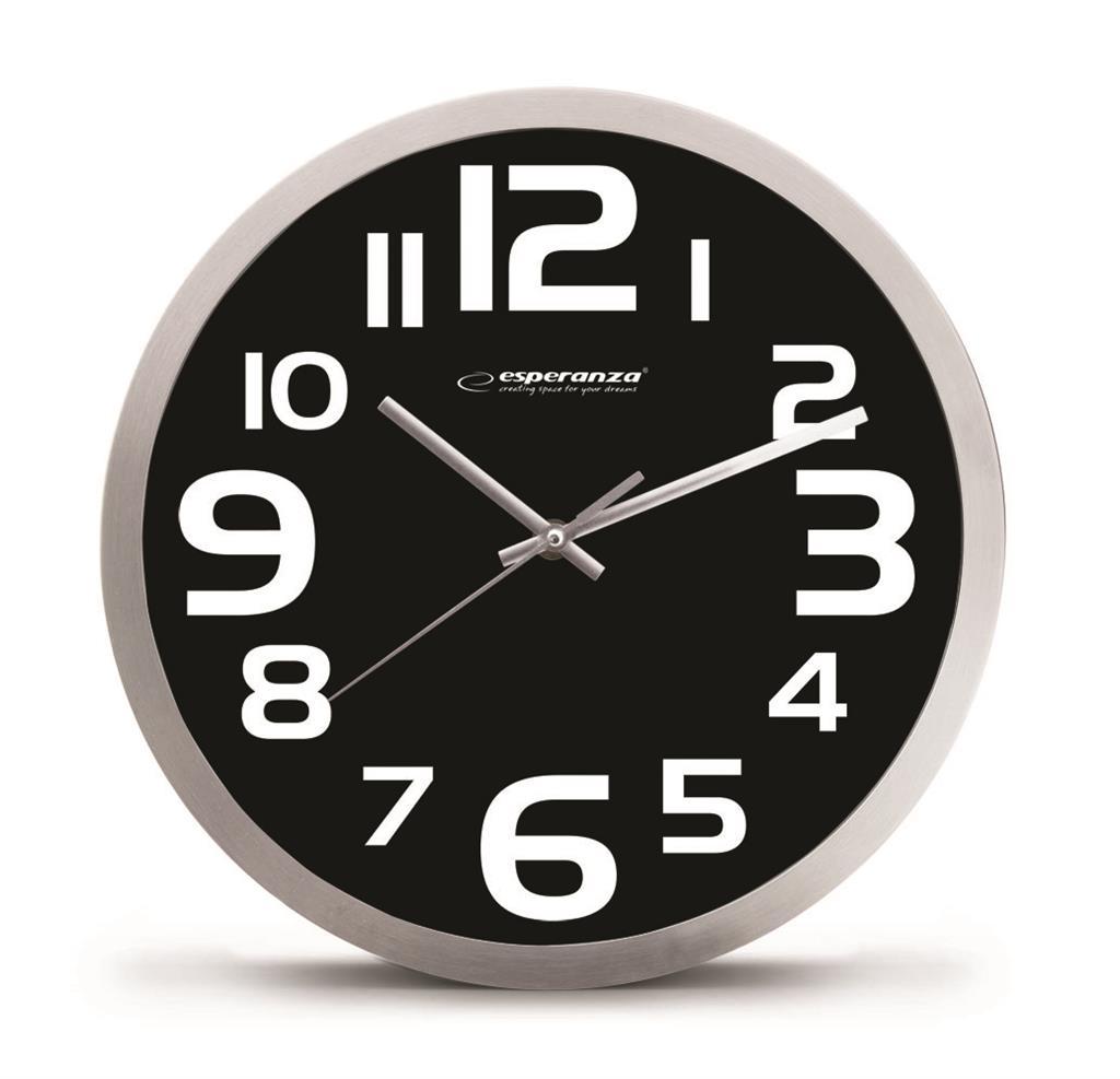 Esperanza EHC013K ZURICH nástěnné hodiny, černé