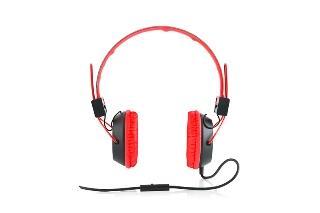 Modecom sluchátka MC-400 CIRCUIT RED mikrofon a ovládání hlasitosti na kabelu