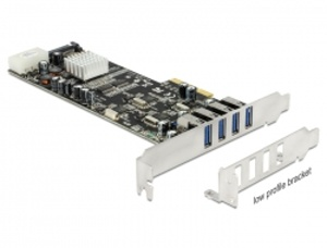 Delock PCI Express x4 Karta řadič 4x externí USB3.0 Quad Channel