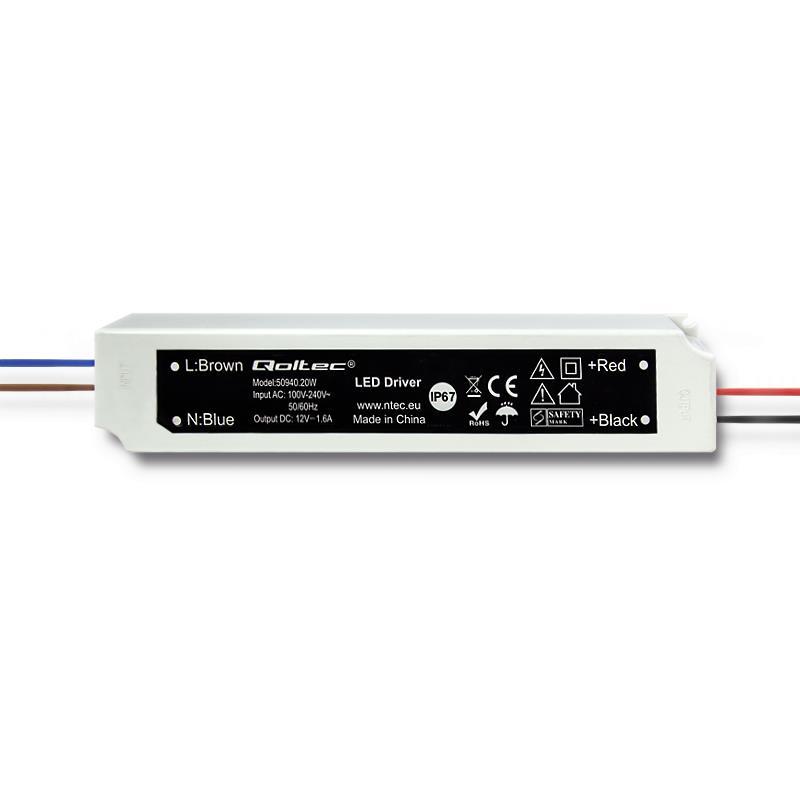 Qoltec Impulse power supply | IP67 | 100V-240V | 20W | 12V | 1.6A