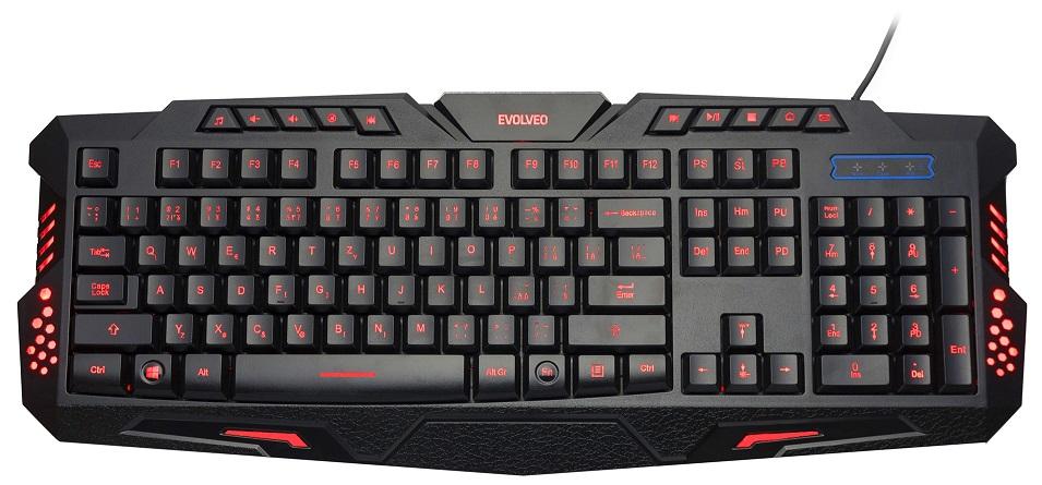 EVOLVEO GK420 herní podsvětlená klávesnice, USB, 3 barvy podsvícení, 10 miltimed. kláves
