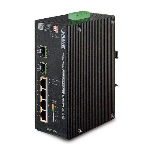 Planet IGS-624HPT, PoE switch 4x 1000Base-T, 2x SFP 100/1000Base-X, 802.3at 120W, DIN,IP30, -40 až +75st.C