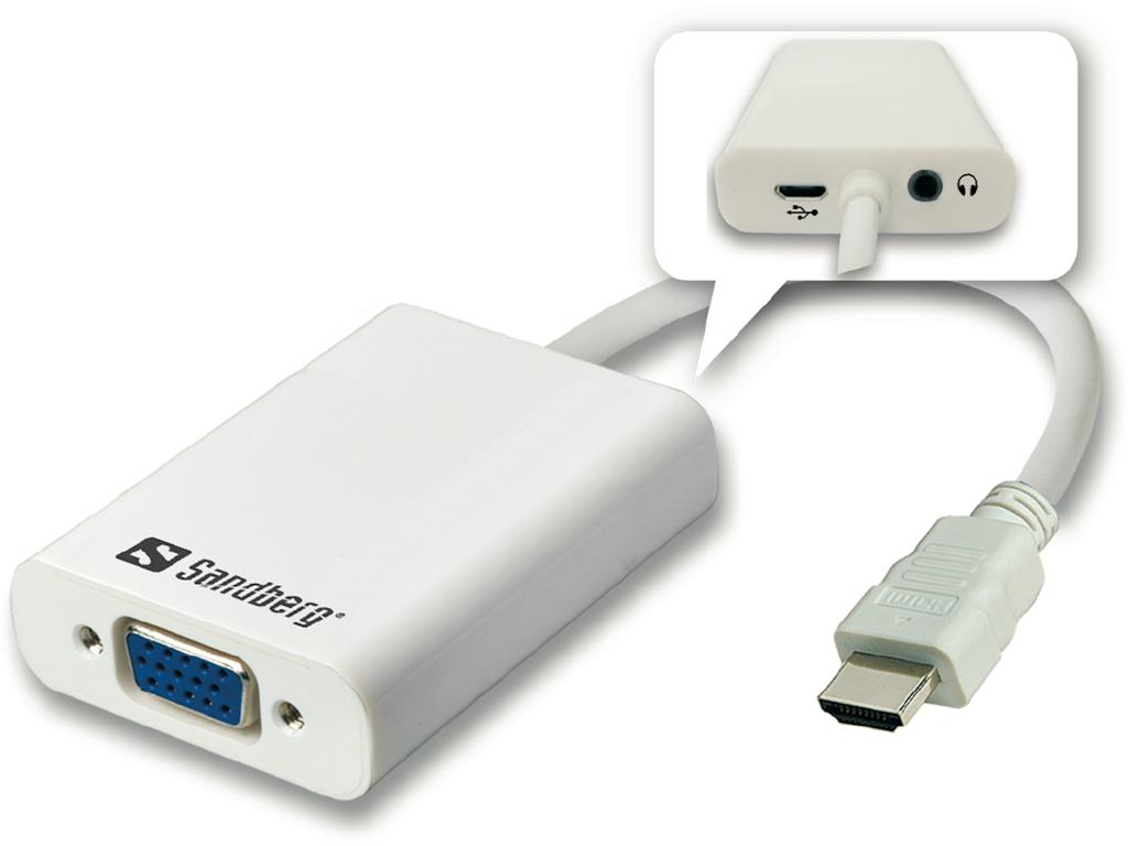 Sandberg adaptér HDMI > VGA + Audio konvertor, bílý