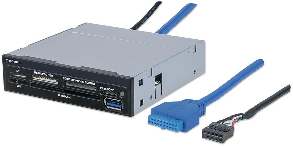 """MANHATTAN Čtečka paměťových karet, 34 v 1, SIM/Smart Card, USB 3.0, 3.5"""" interní, černá"""