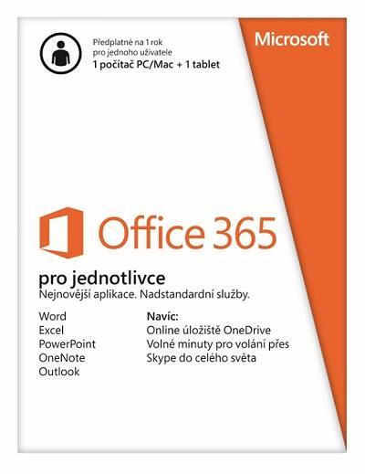 Office 365 pro jednotlivce 32/64-bit SK předplatné 1 rok - box