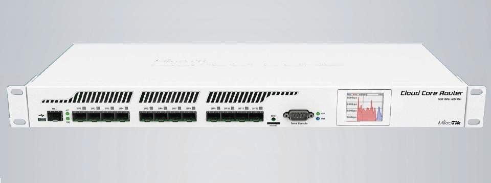MikroTik Cloud Core Router CCR1016-12S-1S+, 2GB RAM, 12x SFP cages,1x SFP+, Level6, RM1U, LCD, Dual PSU