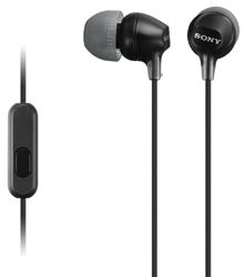 SONY sluchátka MDR-EX15AP, handsfree, černé