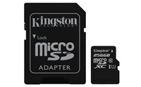 KINGSTON 256GB microSDXC Class 10 UHS-I 45MB/s Read Card + SD Adapter