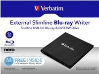 VERBATIM External Slimline Blu-Ray Writer USB 3.0, SW Nero Burn & Archive, Mac/Win kompat.