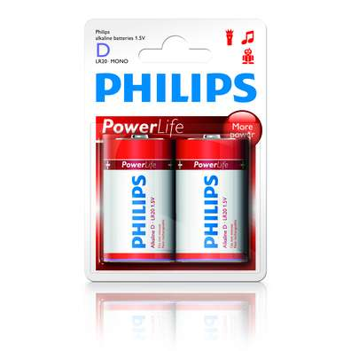 Philips baterie D PowerLife, alkalická - 2ks