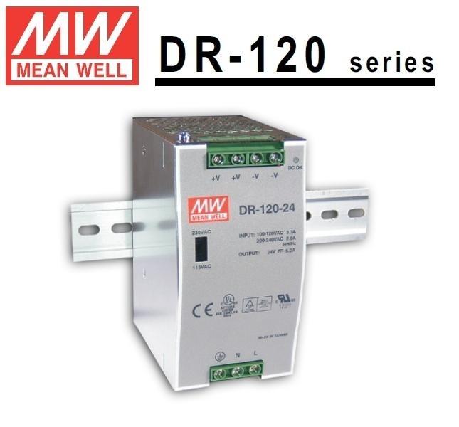 MEANWELL DR-120-12 Prům. nap. zdroj 12V 10A