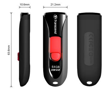 Transcend 32GB JetFlash 590, USB 2.0 flash disk, černo/červený