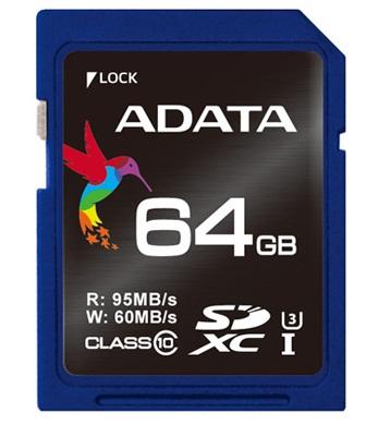 ADATA Premier Pro SDXC karta 64GB UHS-I U3 Class 10 (95/60MB/s)