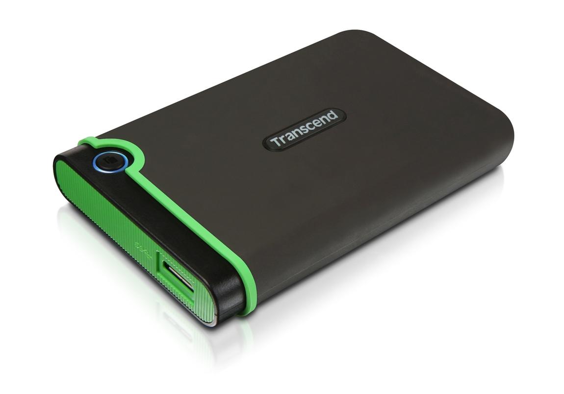 """TRANSCEND 2TB StoreJet 25M3S SLIM, USB 3.0, 2.5"""" Externí Anti-Shock disk, tenký profil, šedo/zelený"""