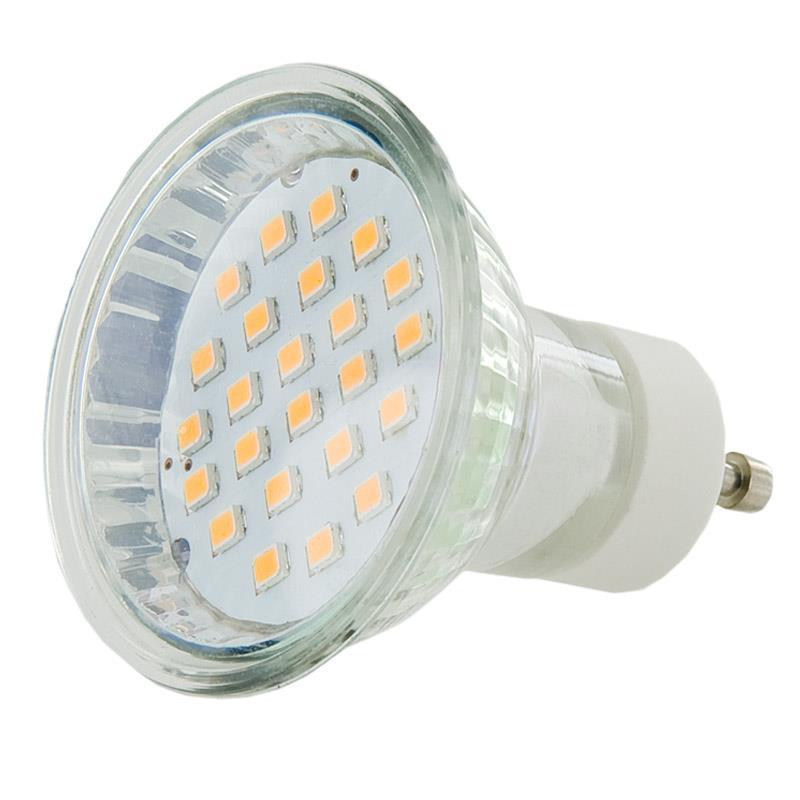 WE LED žárovka 24xSMD 4,5W GU10 teplá bílá - refl