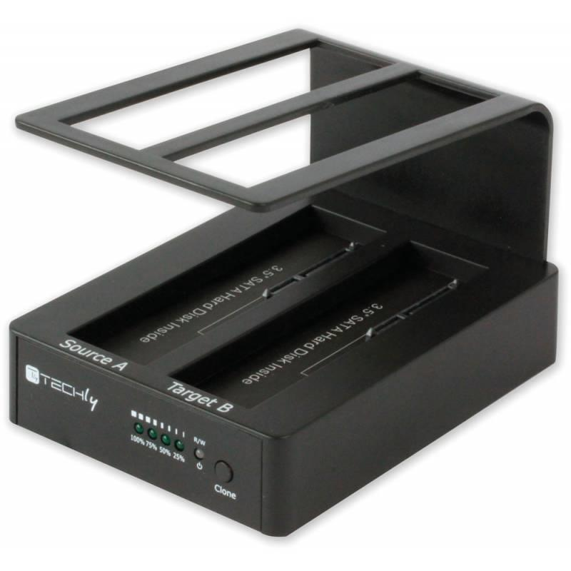 Techly USB 3.0 dokovací stanice pro dva 2.5''/3.5'' SATA HDD, s OTB, klonování