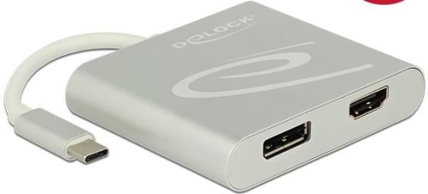 Delock Splitter USB-C - HDMI + DisplayPort silver