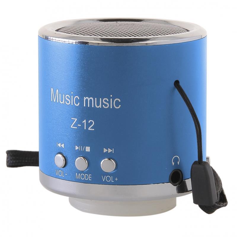 GT Z-12 přenosný mini reproduktor, FM rádio, RMS 3W, SD, USB, modrý