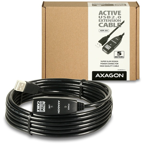 AXAGON USB2.0 aktivní prodlužka/repeater kabel 5m