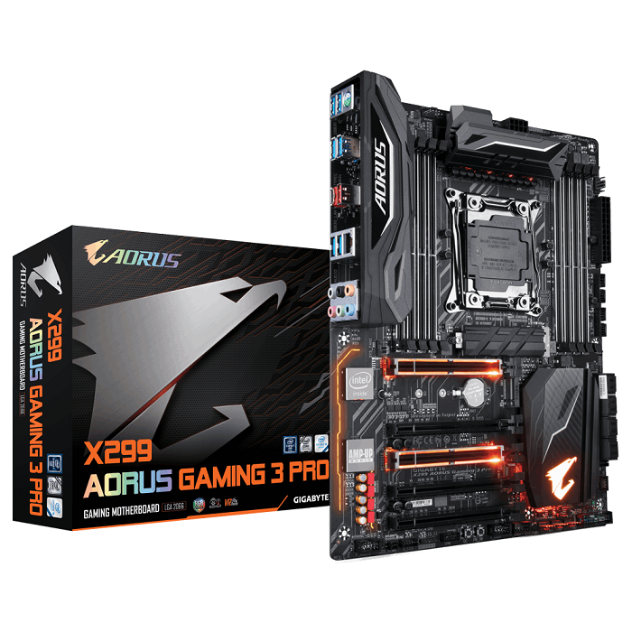 Gigabyte X299 AORUS Gaming 3 Pro, X299, DDR4 ,USB 3.1 Gen 2