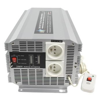 HQ INV2500/24F - Měnič napětí 24V/230V, 2500W, CZ zásuvky