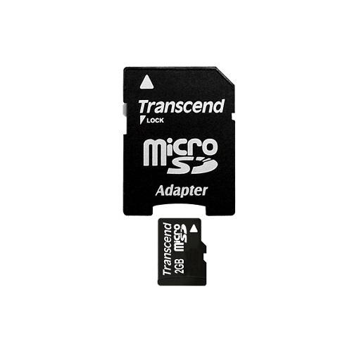 Paměťová karta TRANSCEND 2GB MicroSD memory card + adapter SD