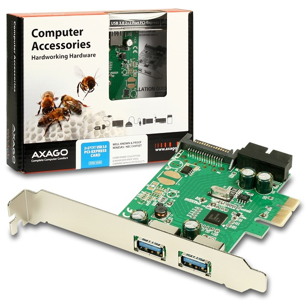 AXAGO - PCEU-232R PCIe adapter 2+2x USB3.0 Renesas + LP