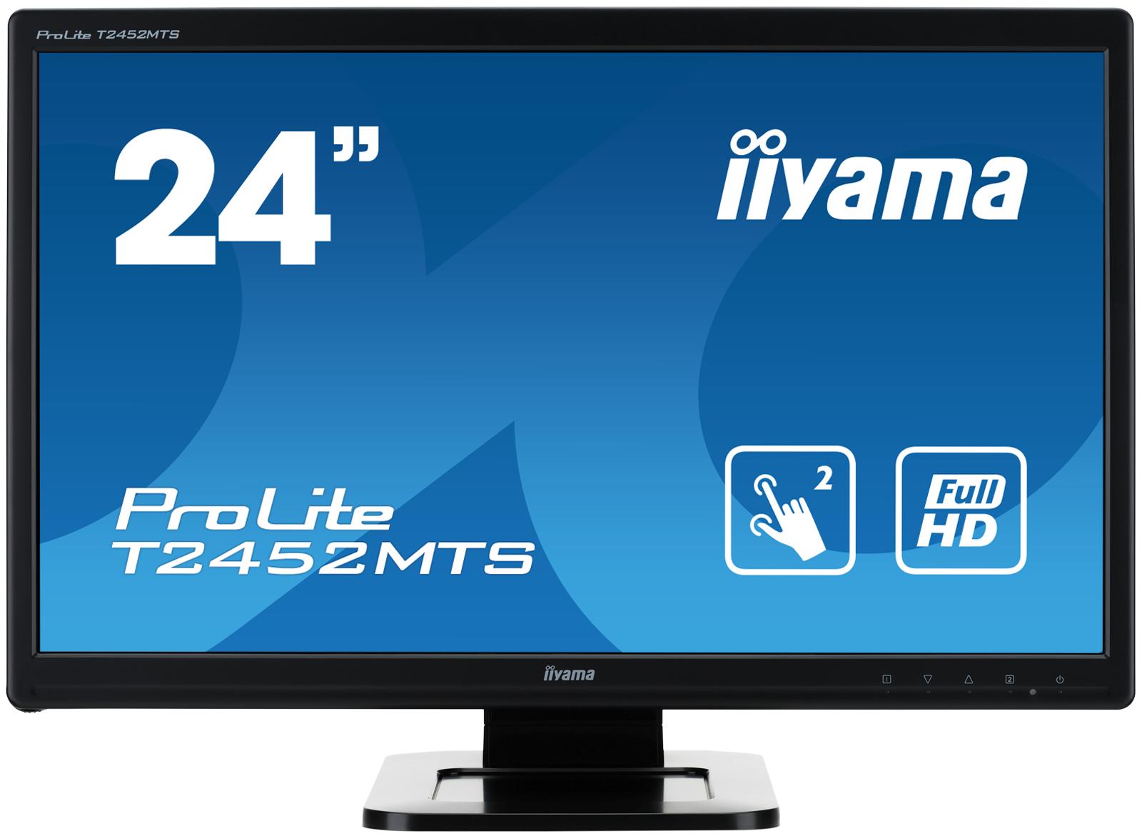 """24"""" LCD iiyama T2452MTS-B4 - 2ms, 260cd/m2, FullHD, VGA, DVI, HDMI, USB, 2 dotyk.body, optický"""