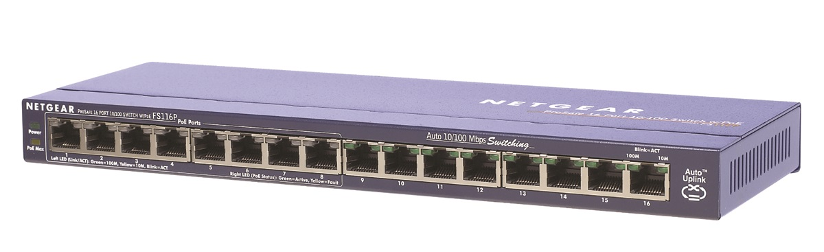 Netgear 16x 10/100 Port switch with 8 Port PoE, exter. zdroj