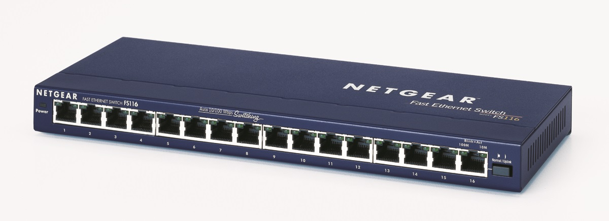Netgear 16x 10/100 Port switch, exter. zdroj