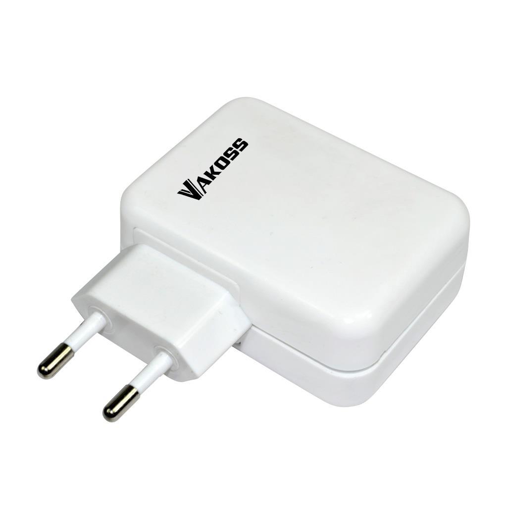 VAKOSS Multi-port USB nabíječka 4xUSB, 4A, AC 100~240V TP-1883UW bílá