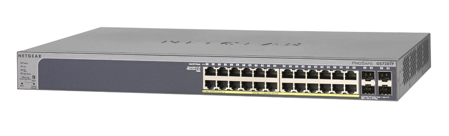 NETGEAR 24xGb PoE Smart switch,192W, GS728TP