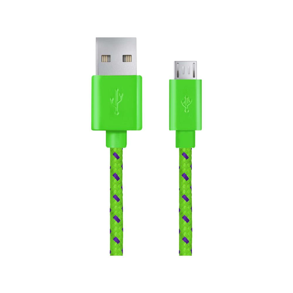 Esperanza EB175GP Kabel Micro USB 2.0 A-B M/M, opetený, 1.0m, zelený