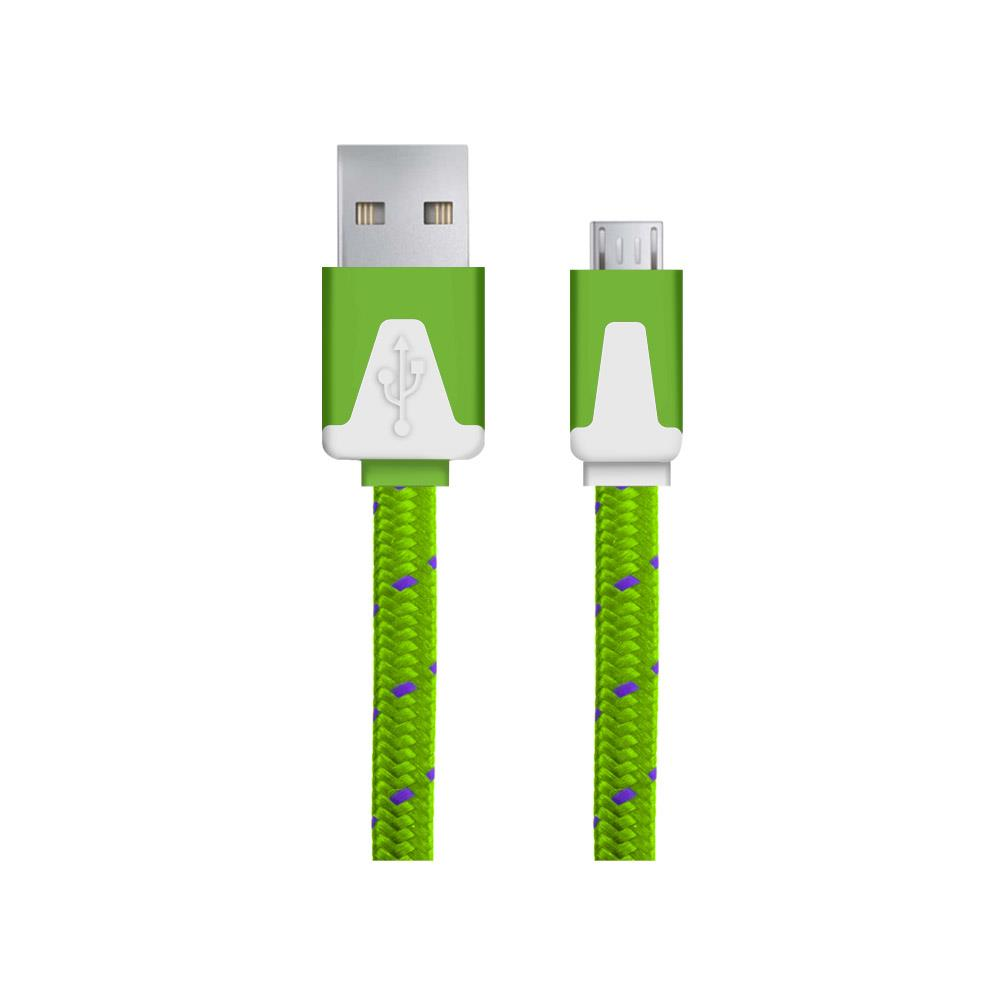 Esperanza EB176PG kabel Micro USB 2.0 A-B M/M, opetený, plochý, 1.0m, zelený