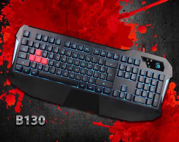 A4tech Bloody B130 podsvícená herní klávesnice, USB, nastavení podsvícení, 7 mltimed. kláv.,CZ