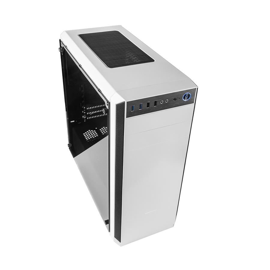 Modecom PC skříň OBERON PRO GLASS WHITE MIDI, 2x USB 3.0, 2x USB 2.0, audio HD, bílá, skleněný boční panel, bez zdroje