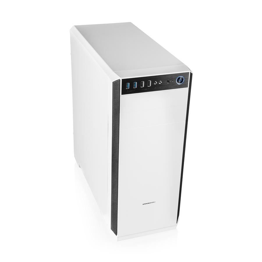 Modecom PC herní skříň OBERON PRO SILENT WHITE MIDI, 2x USB 3.0, 2x USB 2.0, audio HD, bílá, bez zdroje