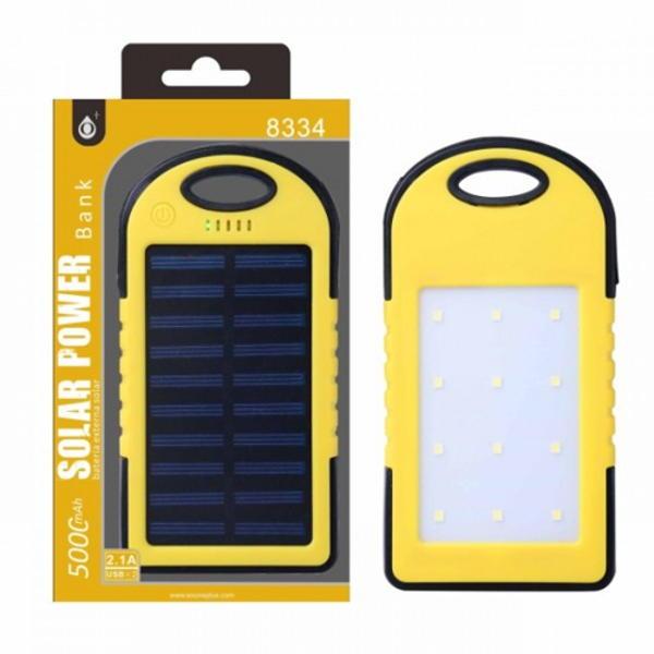 Aligator Power Bank PLUS, 5000mAh, solární, se svítilnou, (N8334), yellow