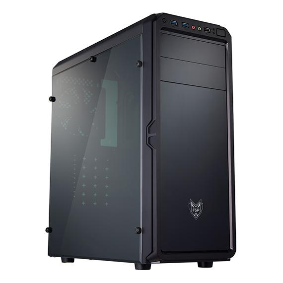 FSP/Fortron ATX Midi Tower CMT120A Black, průhledná bočnice