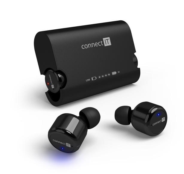 CONNECT IT True Wireless HYPER-BASS Bluetooth sluchátka do uší s mikrofonem, černá