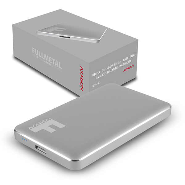 """AXAGON EE25-F6G, USB3.0 - SATA 6G 2.5"""" FULLMETAL externí box, titanově šedý"""