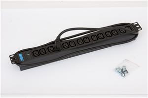 "TRITON 19"" rozvodný panel 14xIEC C13- 2m, kontrolka, černý"