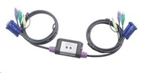 ATEN CS62A 2-Port PS/2 KVM Switch, Speaker Support, 1.2m cables