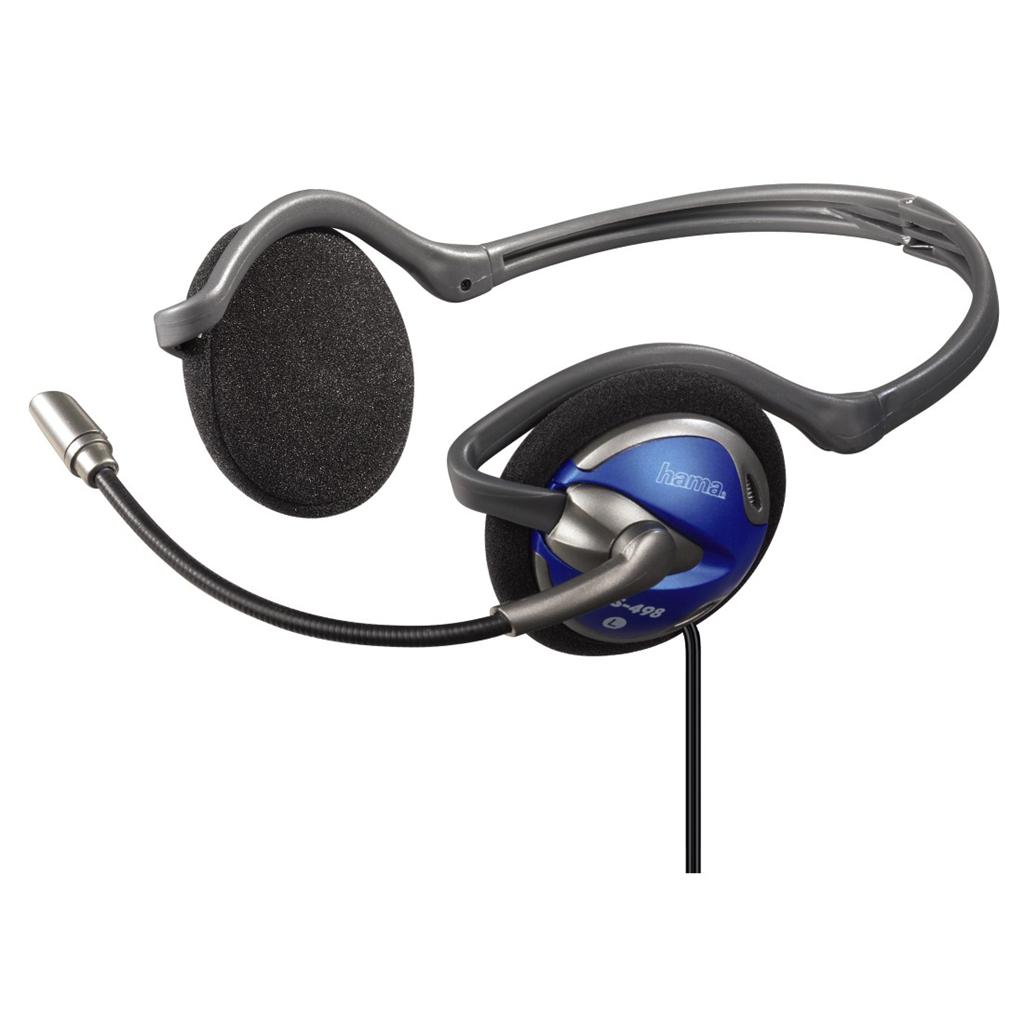 HAMA Headset Hama 42498, PC Neck Band Headset CS-498, sklapovací - modrý