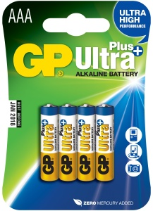GP AAA Ultra Plus, alkalická - 4 ks